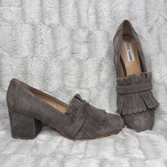 c3e534dff20 Steve Madden Kate Fringed Suede Block Heel Loafer.  M 5bbeb6005098a0e9e64b699c